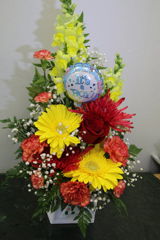 Baby Boy Deluxe Fresh Floral Arrangement