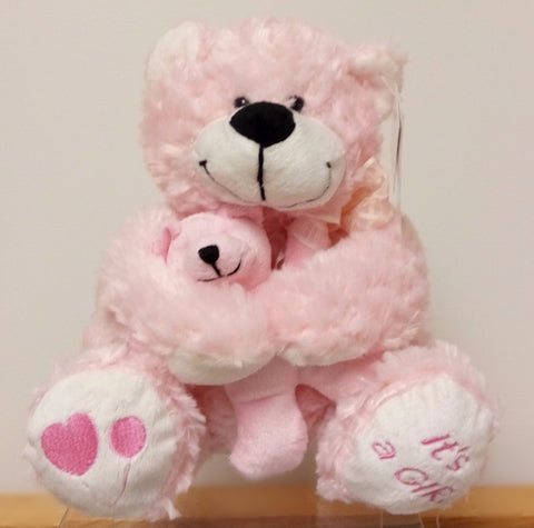 It's a Girl Bear Hug Baby Bear, Pink