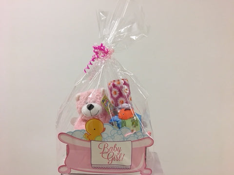 Baby Girl Gift Basket with Teddy Bear