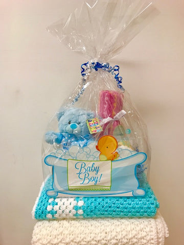 Baby Boy Basket with Teddy Bear