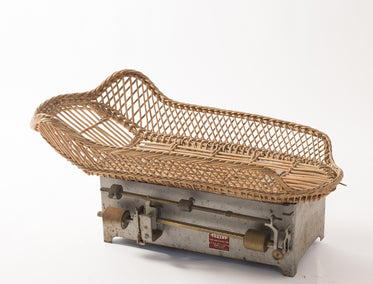 French Rattan Baby Scale