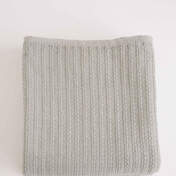 Cotton Cable Knit Blanket, Grey | Full/Queen
