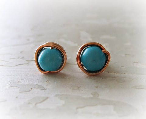 Contempo Jewelry Copper Turquoise Stud Earrings