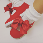 Red girls pumps, red girls shoes, spanish girls shoes, bow shoes, baby shoes