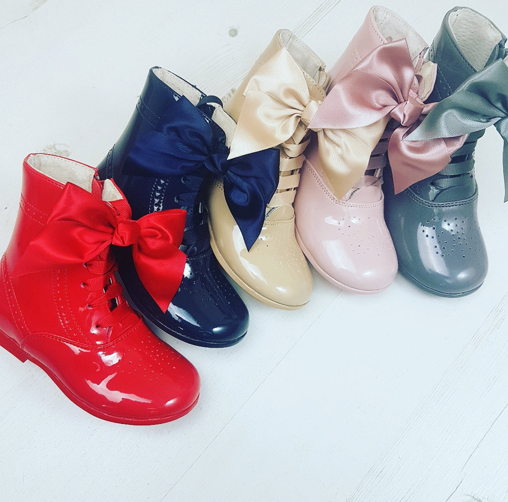 Spanish girls bow patent boots butterfly  5 6 7 8 8.5 9 10 11 12 12.5
