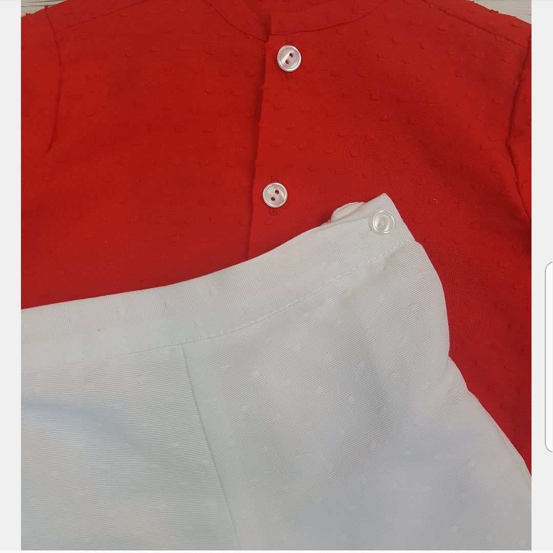 Spnish Boys shirt set Red & white 9m - 5y