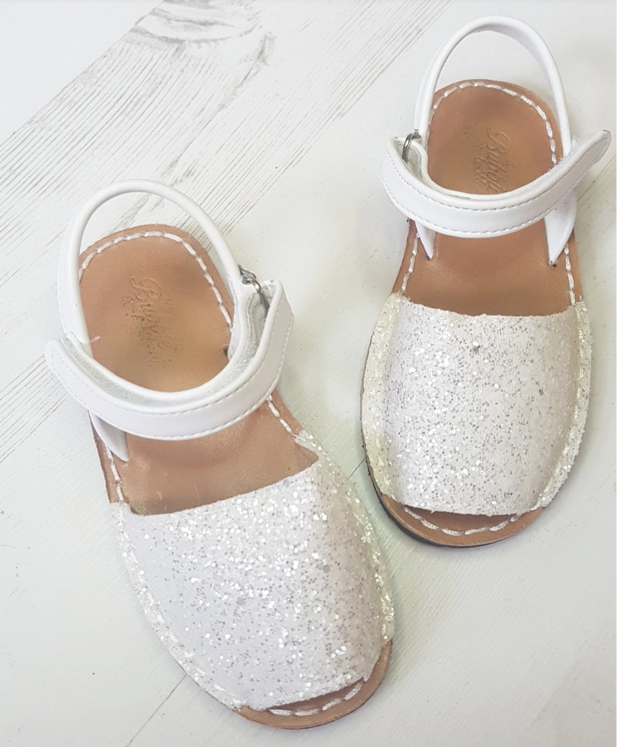 Glitter  White Avarka Sandals size TODDLER 4.5 to BIG GIRL 3