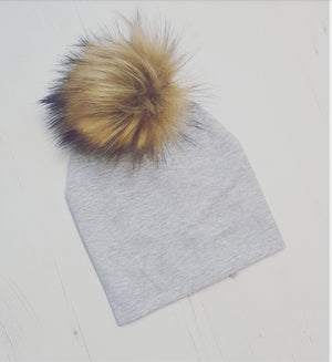 Baby & Toddler Hat white pompom 0-3m  to 7years