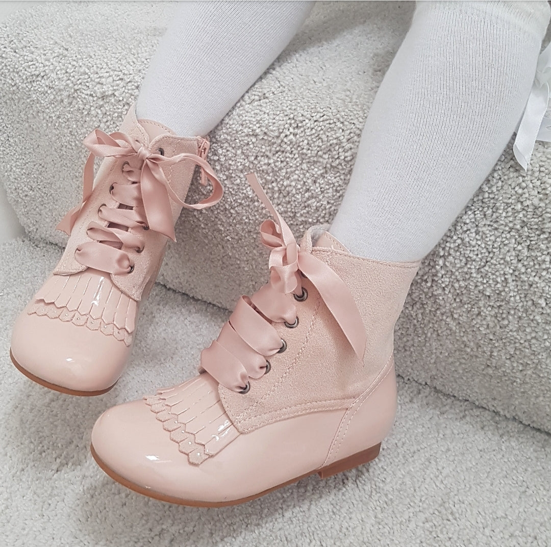 Layla Spanish Baby Pink Boots Girls 4.5 to 13 EU 21 TO 32