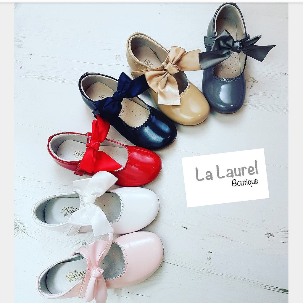 spanish girls bow shoes, kids mary jane shoes, girls leather party shoes, bubble bobble, pink girls shoes, la laurel boutique,