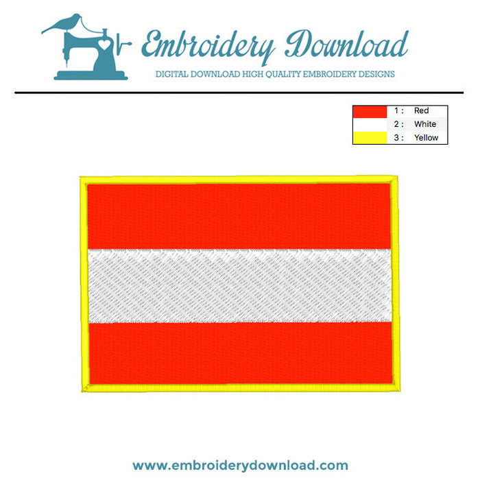 Austrian flag embroidery machine design