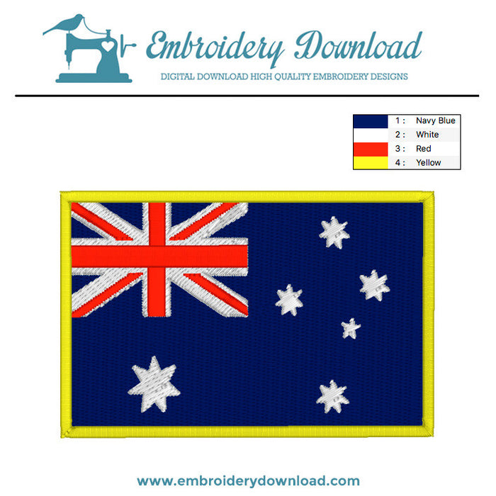 Australian flag embroidery machine design