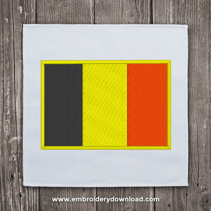 Belgium Flag Embroidery Machine Design For Instant Download