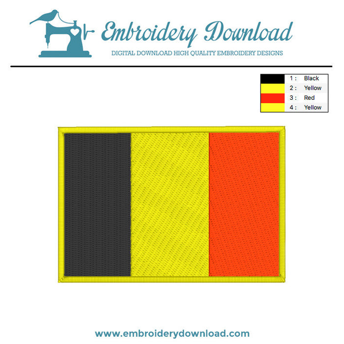 Belgian flag embroidery design
