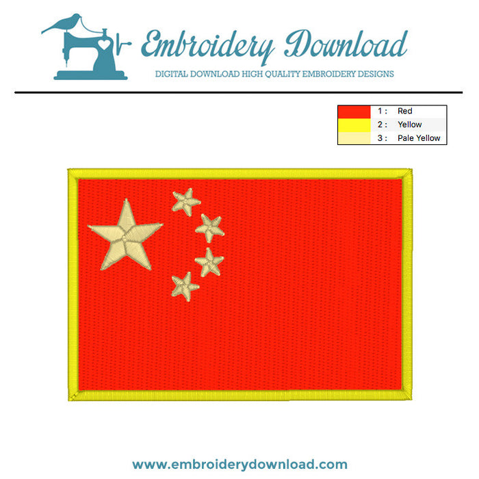 Chinese flag embroidery machine design