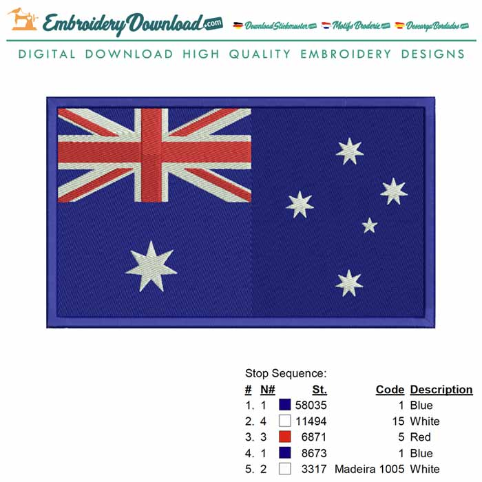 Australia Flag 2 Embroidery Machine Design For Instant Download