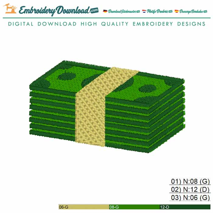 Money Stack Embroidery design for Instant Download