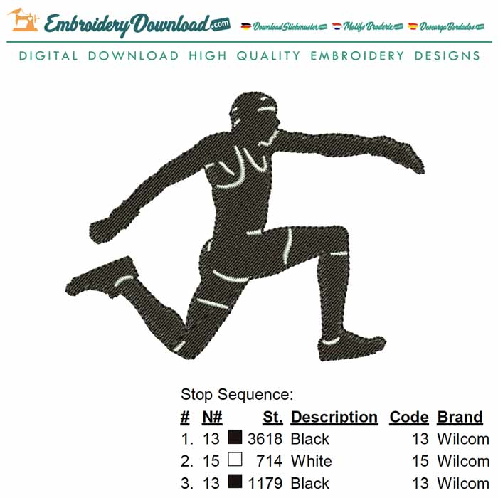 Triple Jump Embroidery Design for Download