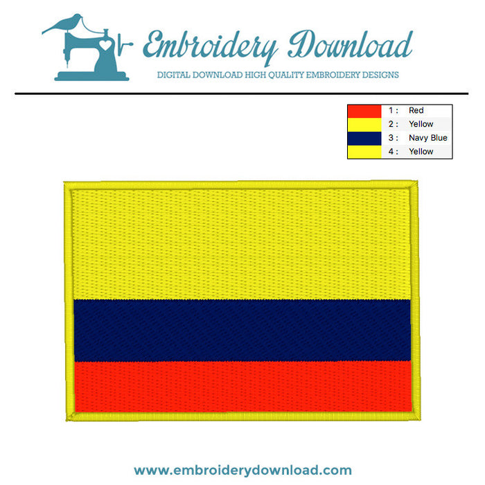 Columbian flag embroidery machine design