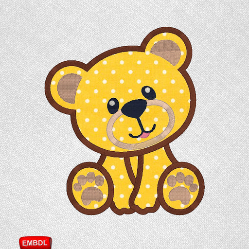 Teddy Bear Applique Embroidery Design for Instant Download