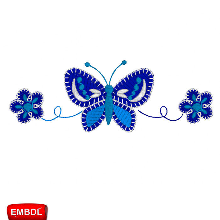 Butterfly & Blue Flowers - Embroidery design download
