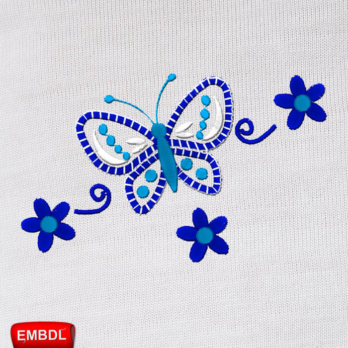 Blue Flowers and Butterfly Embroidery Design for Instant Download