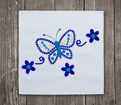 Blue Flowers and Butterfly - Embroidery design download