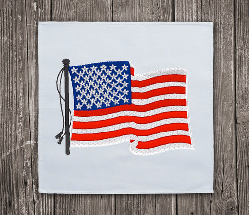 USA Flag Waving Embroidery Design for Instant Download