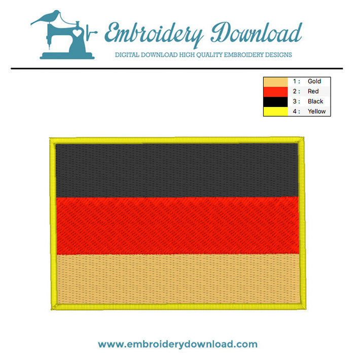 German flag embroidery machine design