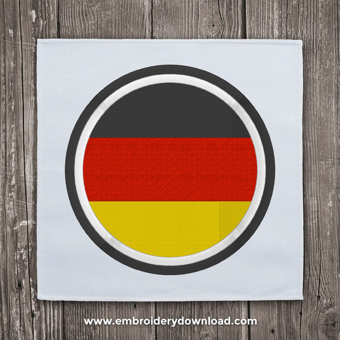 German flag circle embroidery design