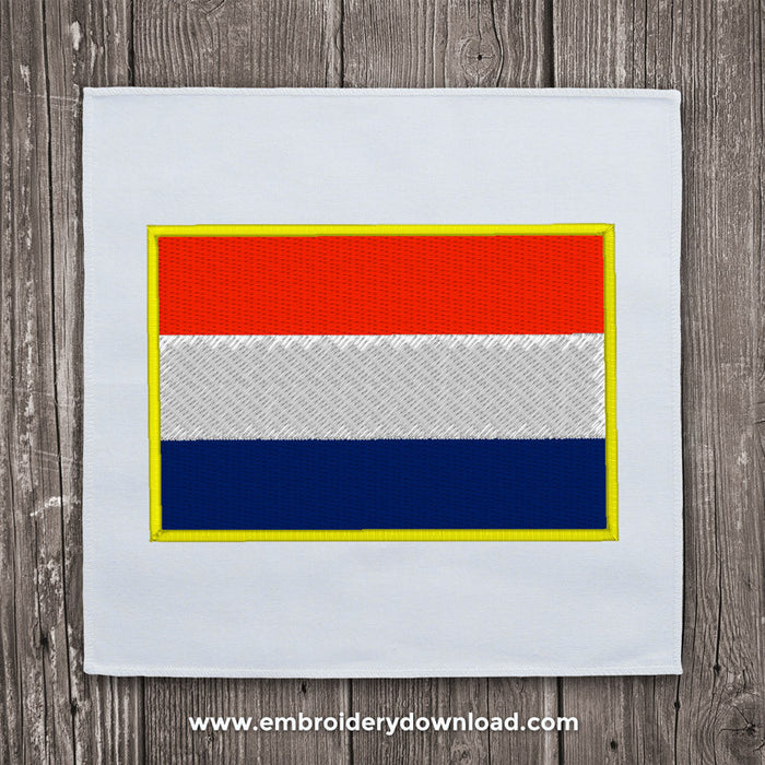 Netherlands flag embroidery design