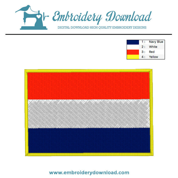 Dutch flag embroidery machine design
