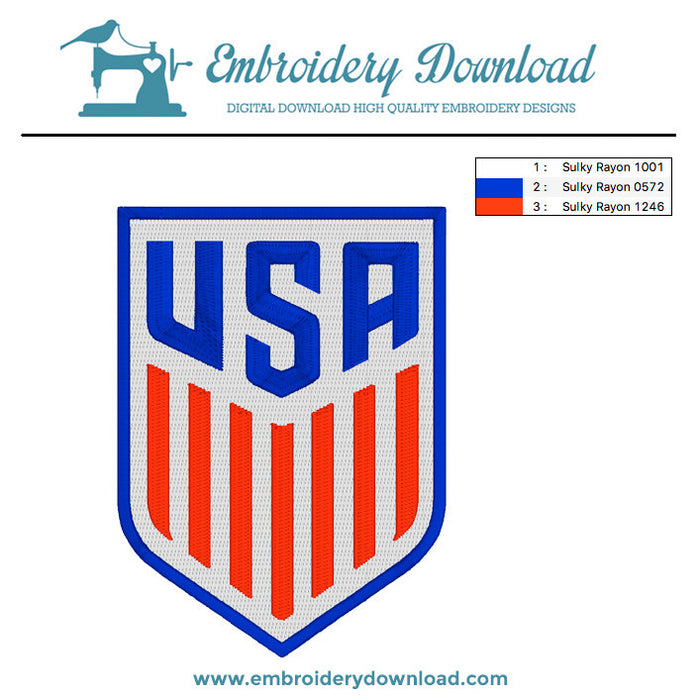 USA Soccer Team logo embroidery machine design
