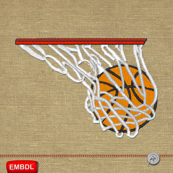 Basketball hoop ring embroidery designs