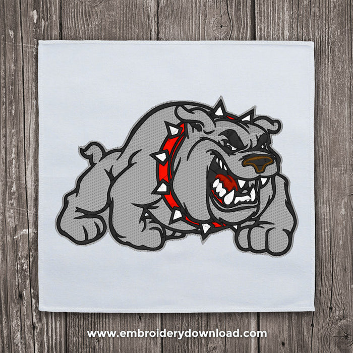 Bull dog cartoon Embroidery Design