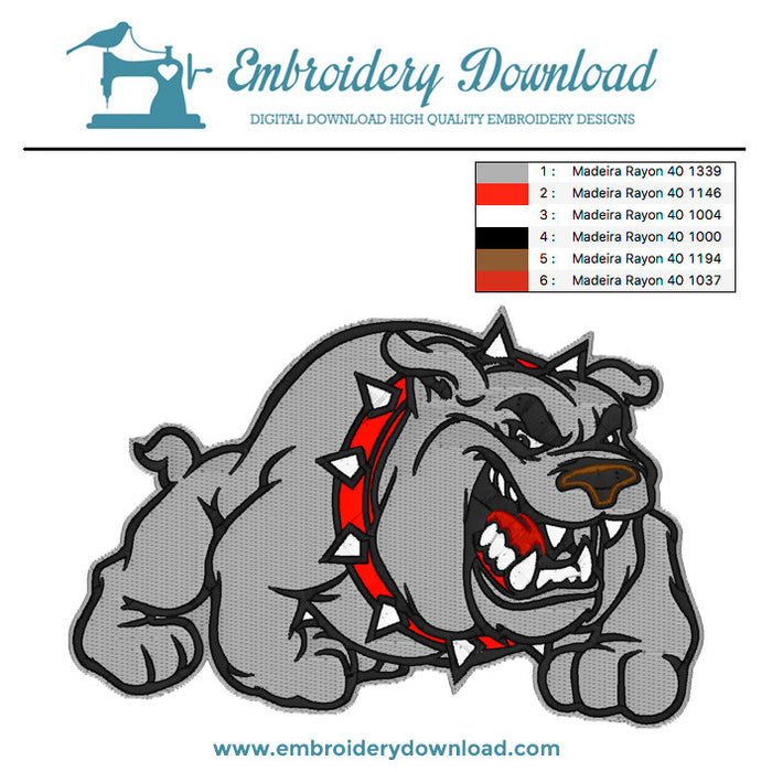 Bull dog cartoon Embroidery machine design