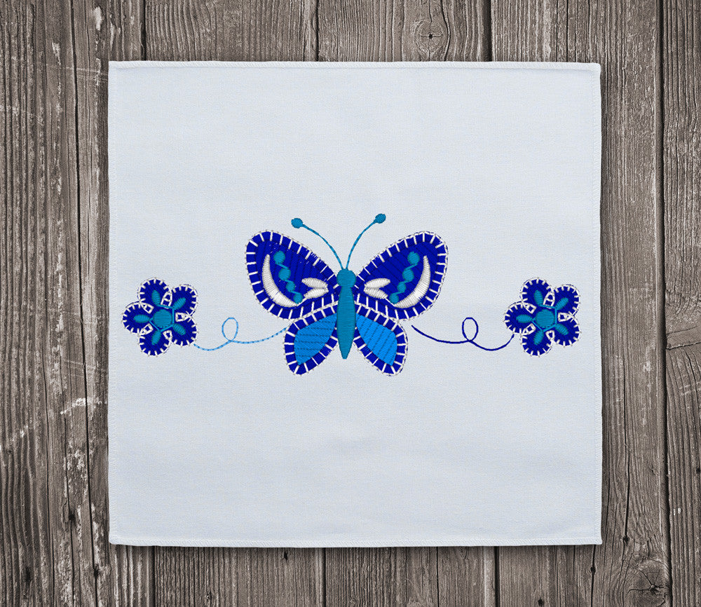 Butterfly blue flowers embroidery design