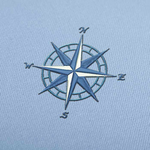 Blue Compass Embroidery design for Instant Download