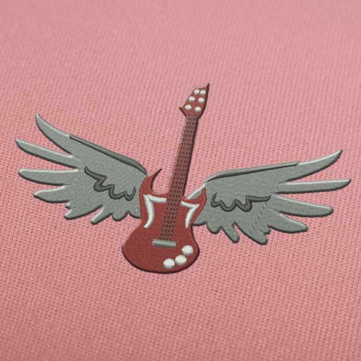 Guitar With Wings Embroidery design for Instant Download