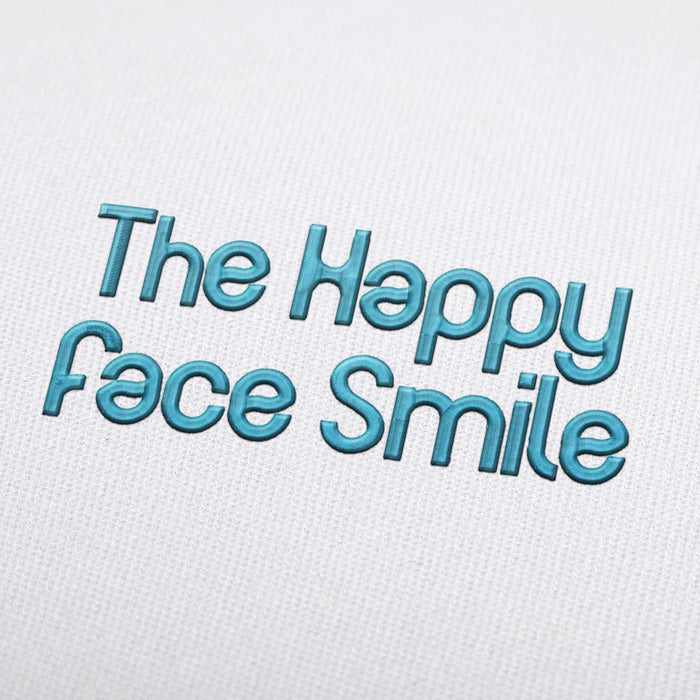 The Happy Face Smile Font - Machine Embroidery Design Fonts Download