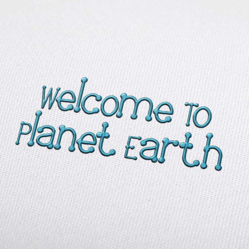 Welcome To Planet Earth Font  Machine Embroidery Design Fonts Download