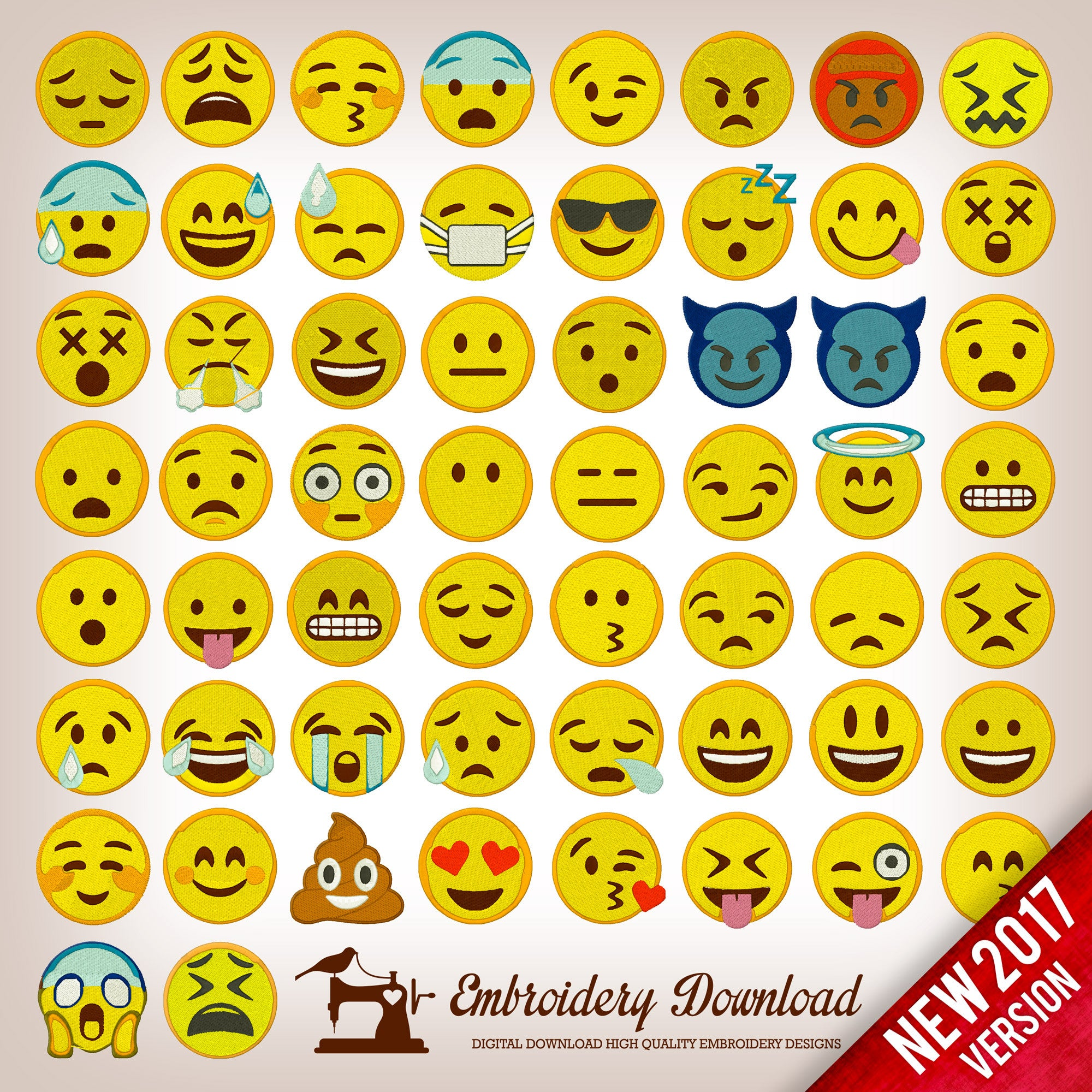 Embroidery Designs Emoticons Emoji Pack 58 designs instant download