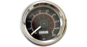 "Viair 220 PSI 2"" Dual Needle Black Air Gauge"