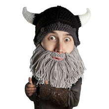 Beard Hat Beanie - Knit Viking Horned Helmet Beard Head