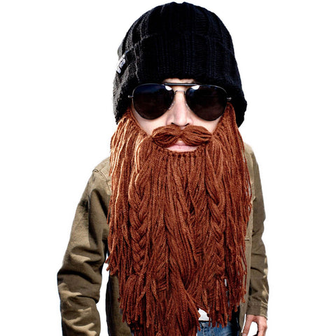 Beard Hat Beanie - Funny Knit Roadie Beard Head