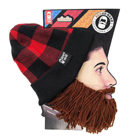 Beard Hat Beanie - Lumberjack Plaid Flannel Beard Head