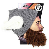 Thor Beard Hat Beanie - Knit Wing Helmet Beard Head