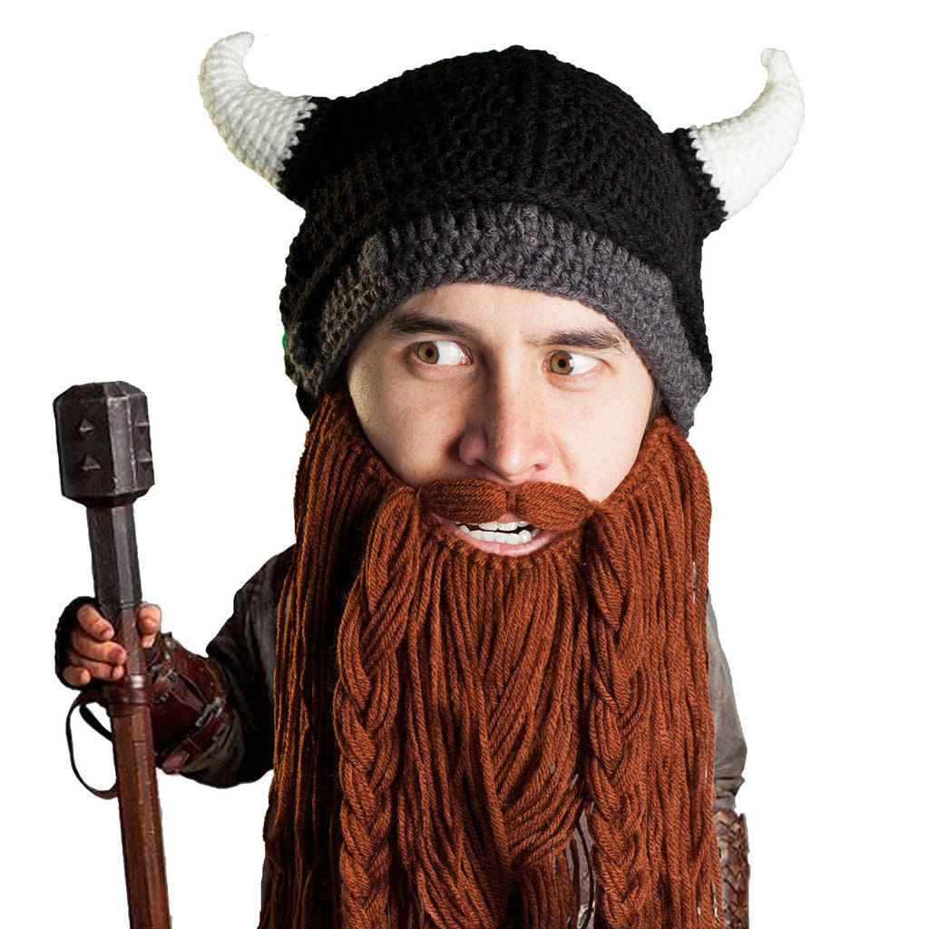 a51b8f08d95 Beard Hat Beanie - Knit Viking Horned Helmet Beard Head