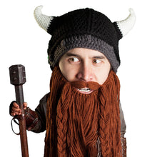 Beard Hat Beanie - Knit Viking Horned Helmet Beard Head a403facbb40