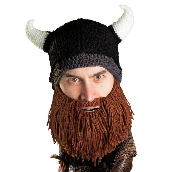 Beard Head - Awesome knit viking beard hat horned helmet
